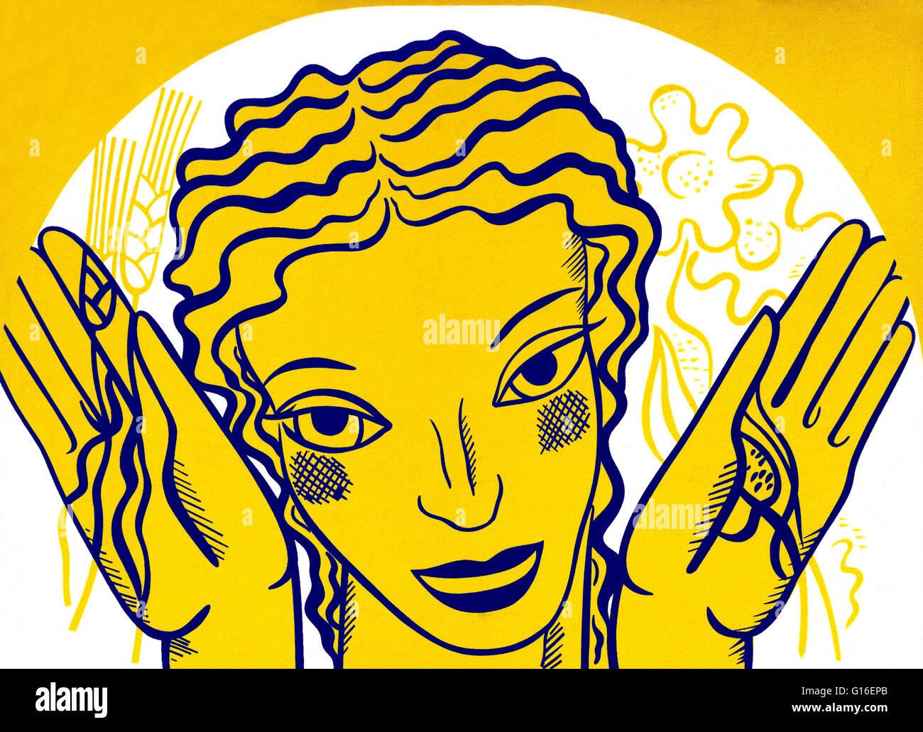 WPA design poster su sfondo giallo che mostra la testa e le mani di una donna tenendo i fiori e il grano. Il progetto Immagini Stock