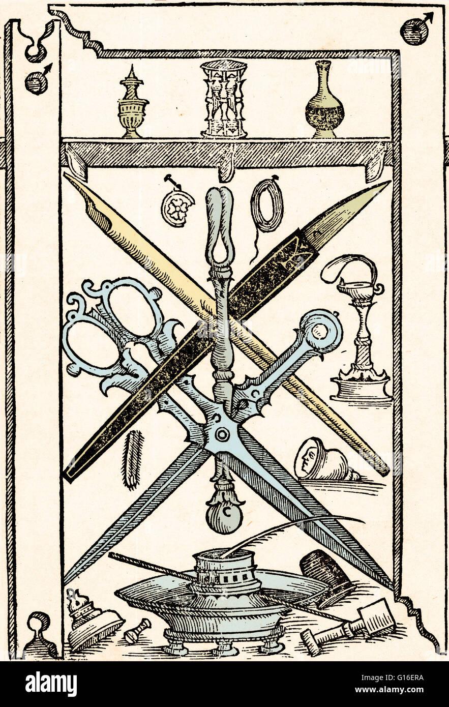 """Colore esaltato illustrazione di strumenti di scrittura da Libro nuovo d'imparare a scrivere (""""Nuovo libro Immagini Stock"""