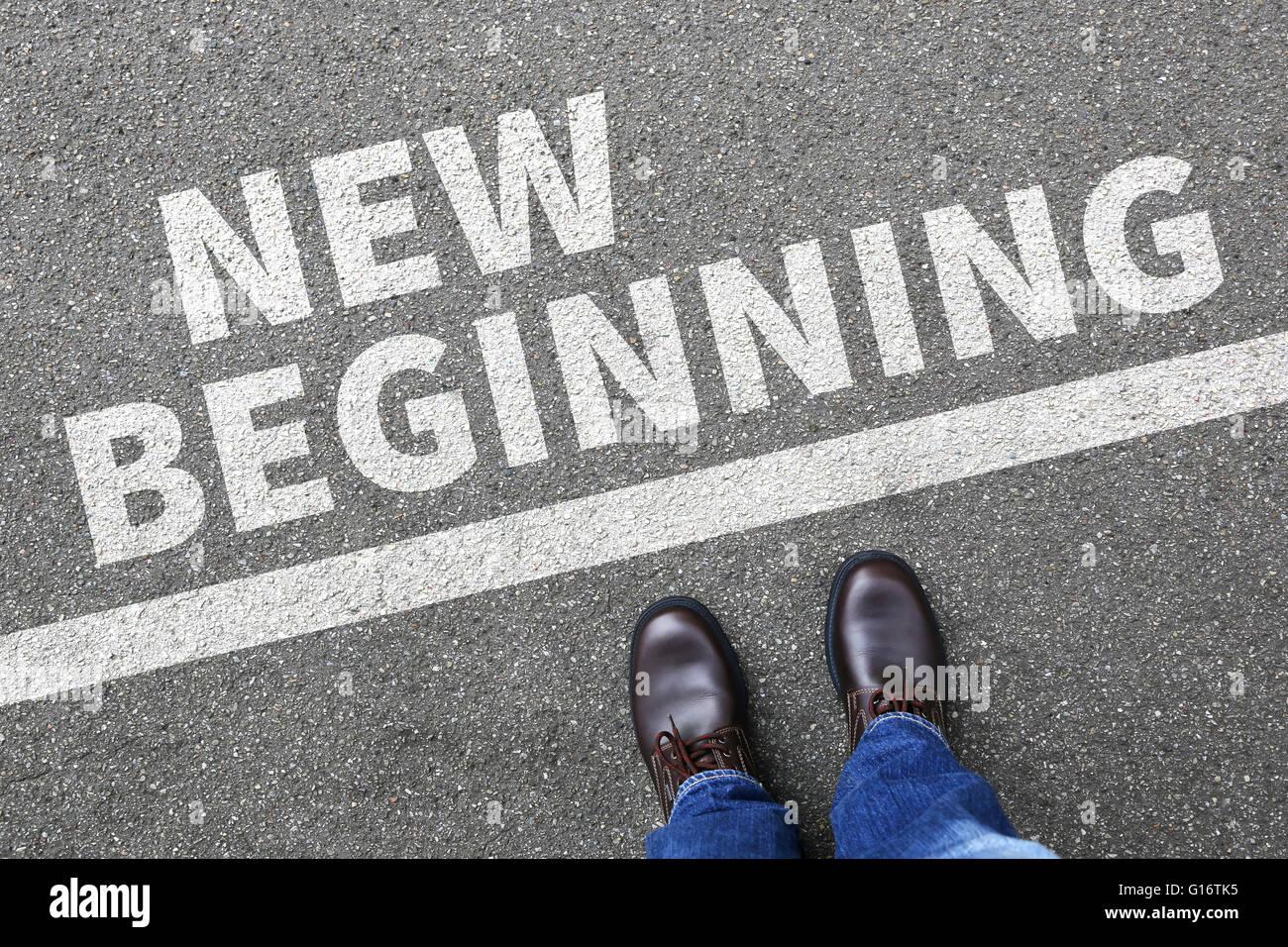 Nuovo inizio inizi vecchia vita futuro passato obiettivi successo decisione decide di modifica Immagini Stock