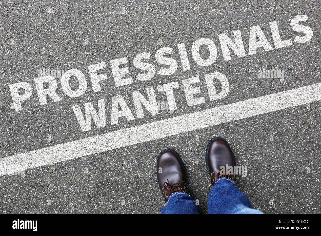 Professionisti ha voluto processi, processo di lavoro professionale assunzione dipendenti concetto aziendale carriera Immagini Stock