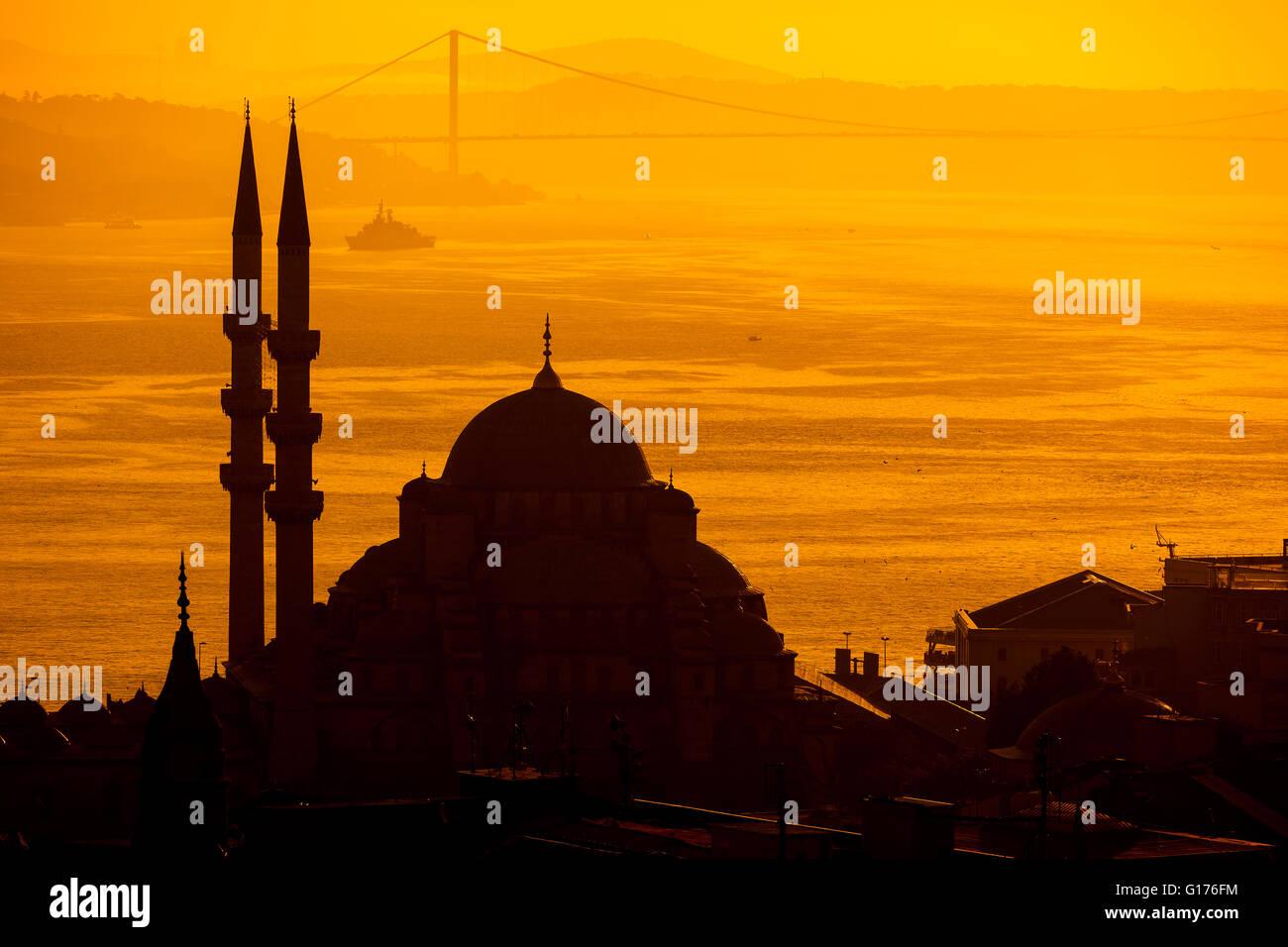 Sihouette moschea, Istanbul Immagini Stock