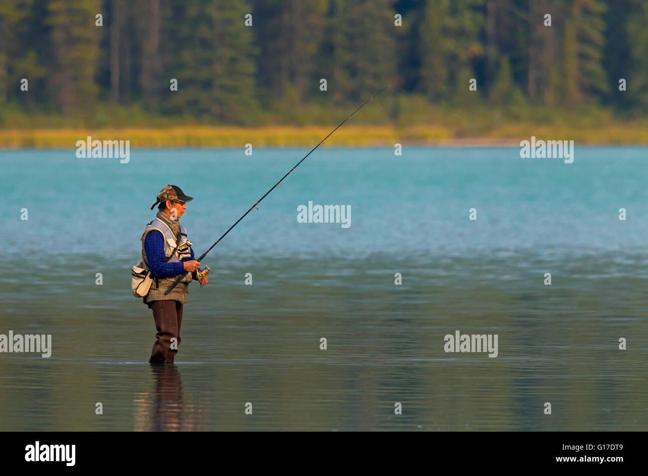 Fly pescatore di Pesca a Mosca Report di pesca in lago, il Parco Nazionale di Banff, Alberta, montagne rocciose, Immagini Stock
