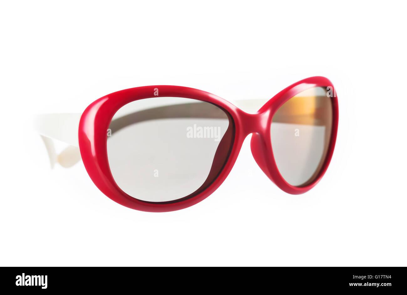 Il bianco e il rosso degli occhiali. Immagini Stock