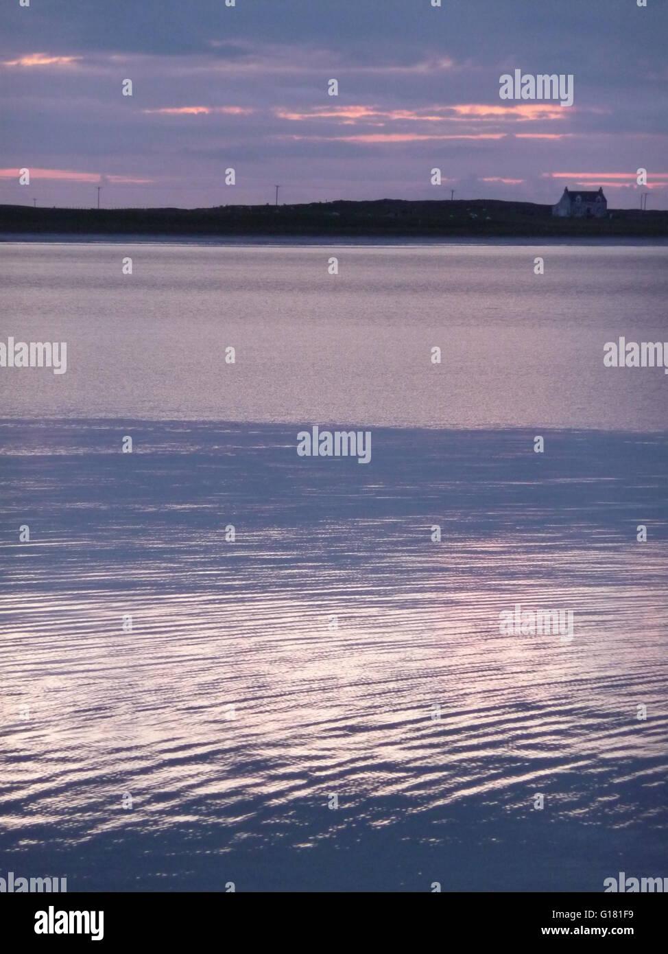 Crepuscolo colpo Gott bay, Isle of Tiree, Scozia Immagini Stock