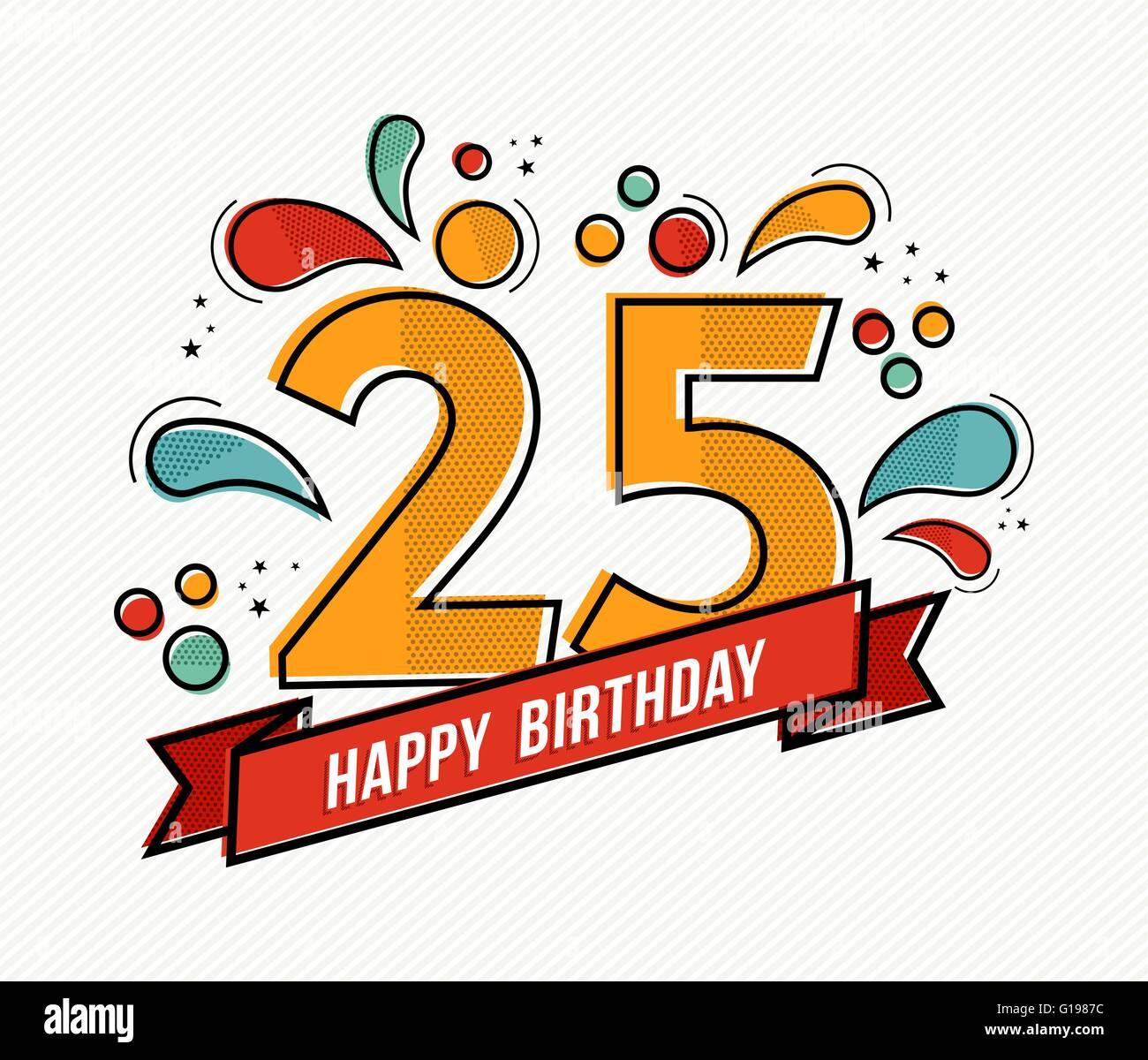 Top Buon compleanno numero 25, biglietto di auguri per venticinque DD13