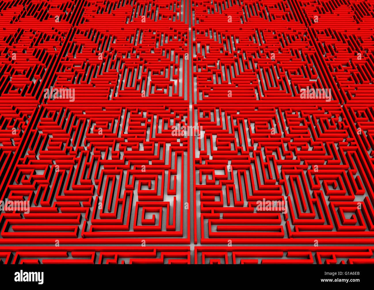 Maze background / 3D render del labirinto gigante allungamento all' orizzonte Immagini Stock