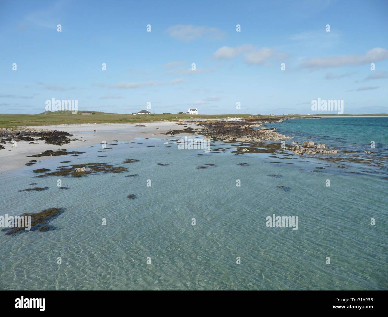 Estremità meridionale di Gott Bay, Isle of Tiree, Scozia su una soleggiata giornata estiva Immagini Stock