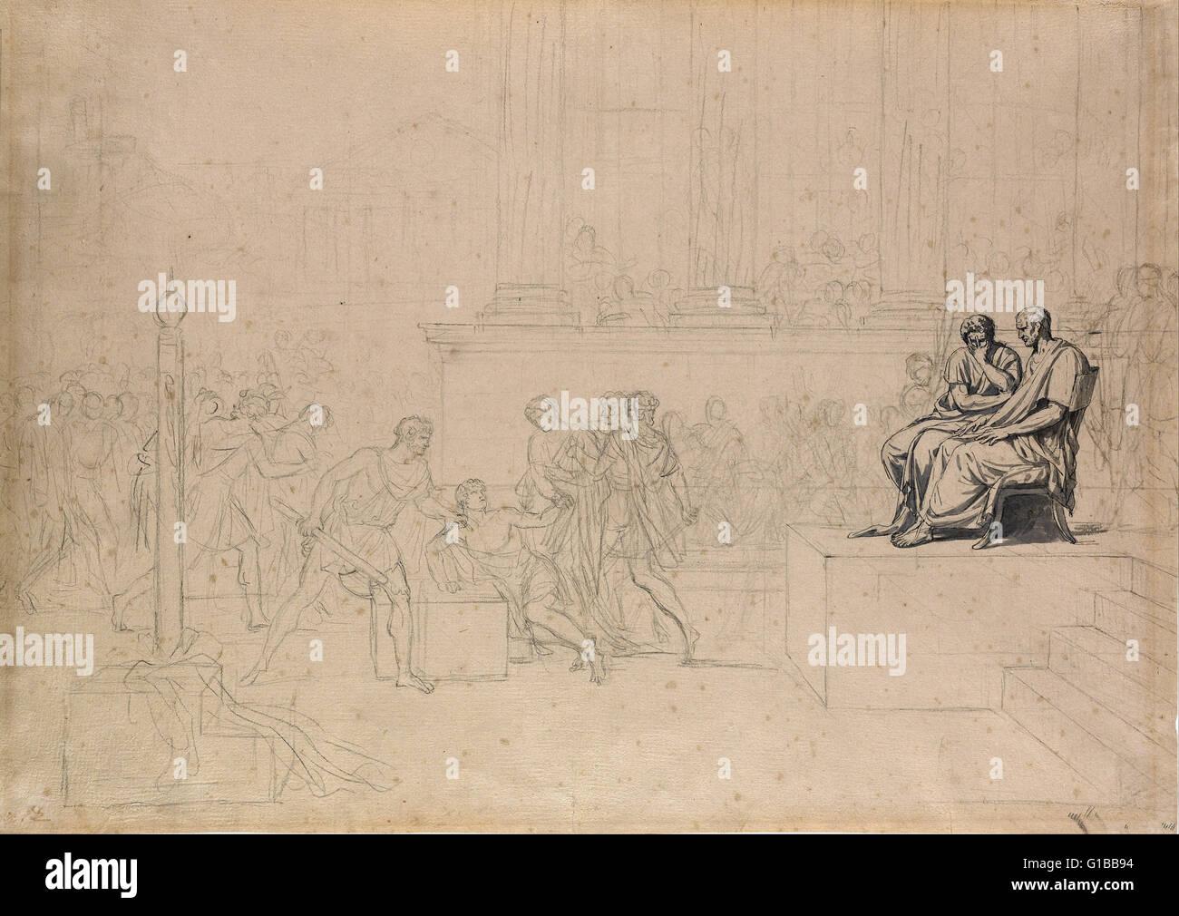 Jacques Louis David - Studio per l'esecuzione dei figli di Bruto - la Morgan Library Immagini Stock