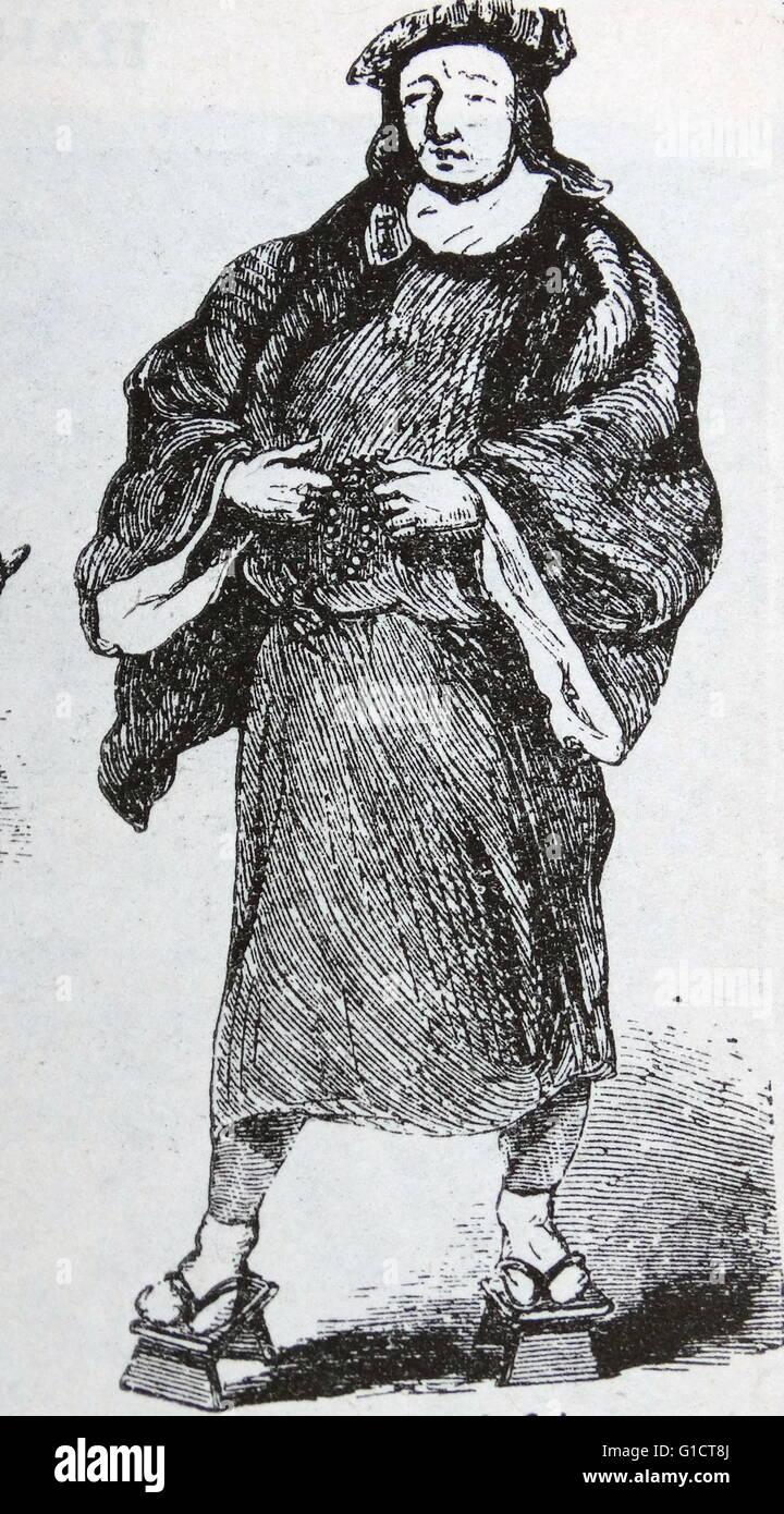 Xilografia di un frate medievale Immagini Stock