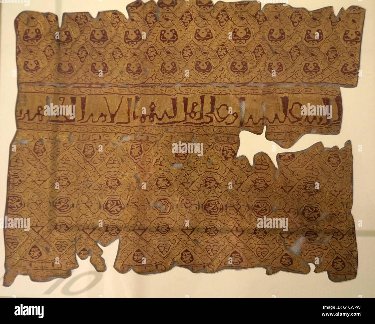 Fatimid frammenti tessili dall'Egitto. Datato al X secolo Immagini Stock