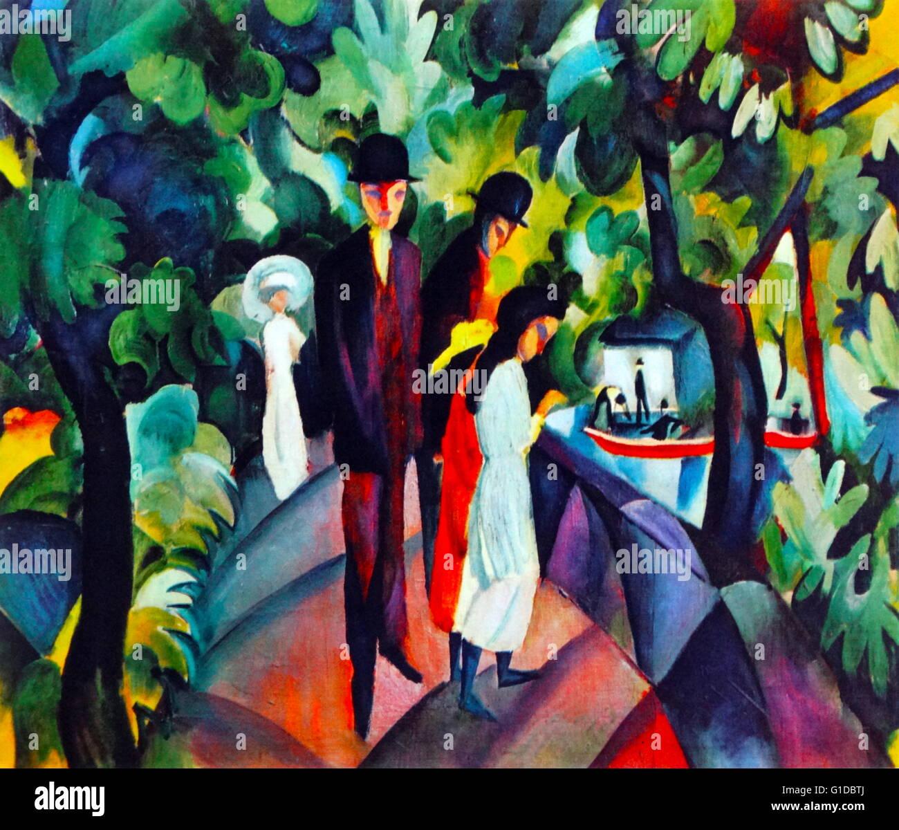 Walkers sul ponte, 1912, da August Macke (1887 - 1914) che conduce membro tedesco del gruppo espressionista Der Immagini Stock