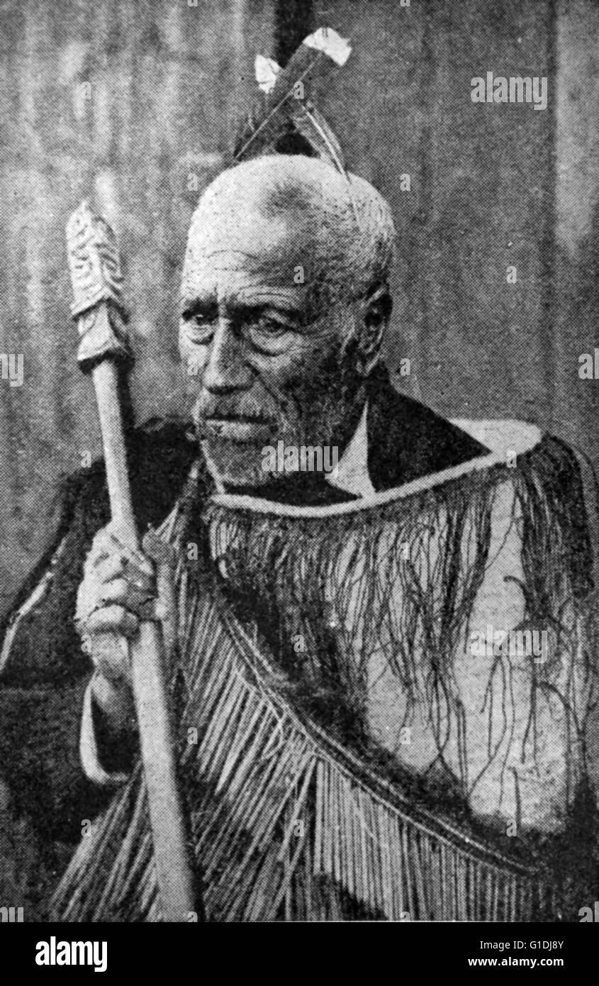 Anziano capo Maori, Nuova Zelanda 1880 Immagini Stock