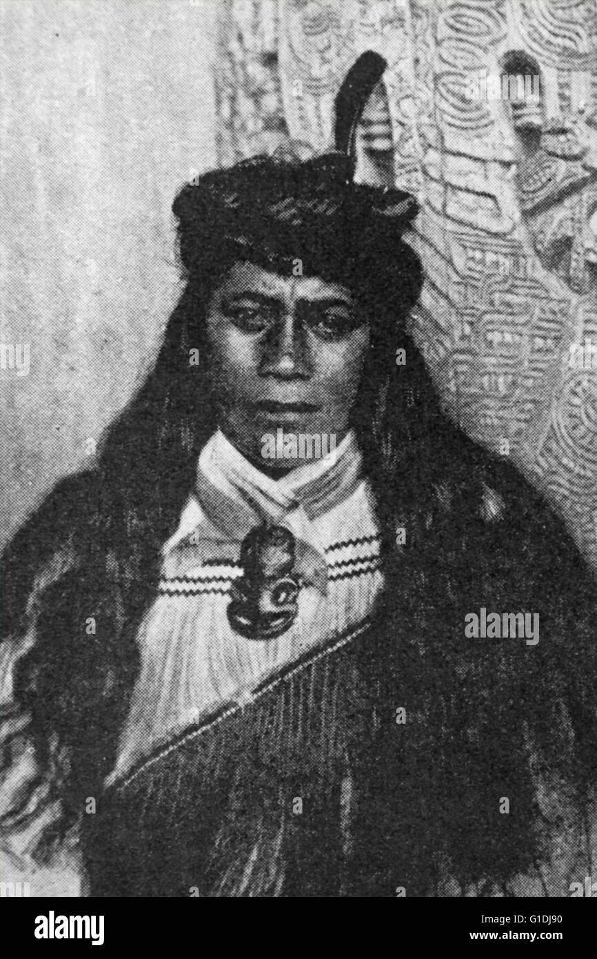 Giovane donna Maori, Nuova Zelanda, 1880. Immagini Stock