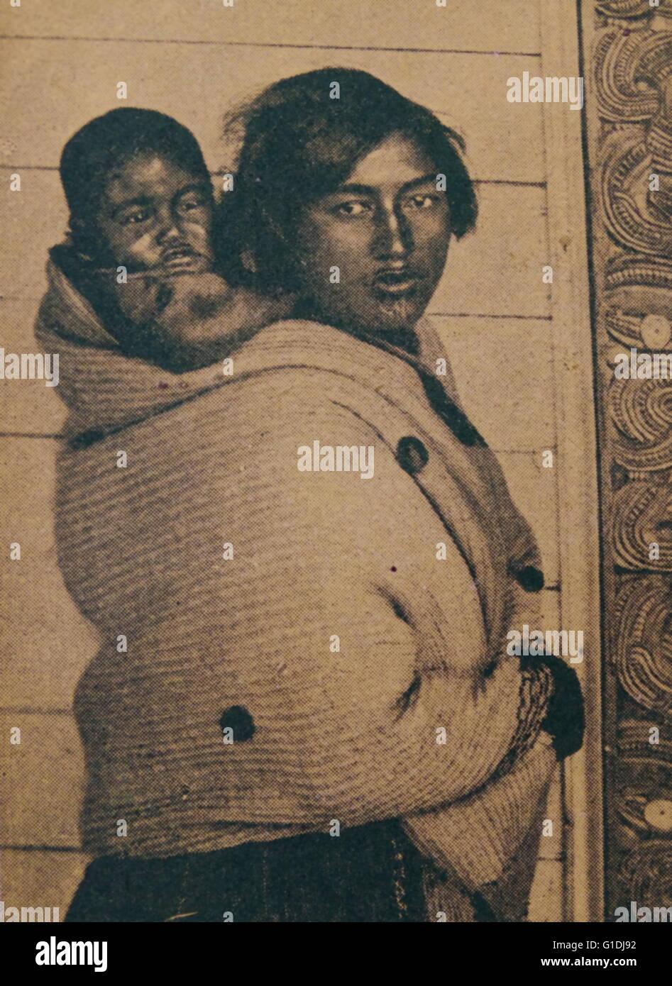 Maori la madre e il Bambino Nuova Zelanda 1880 Immagini Stock