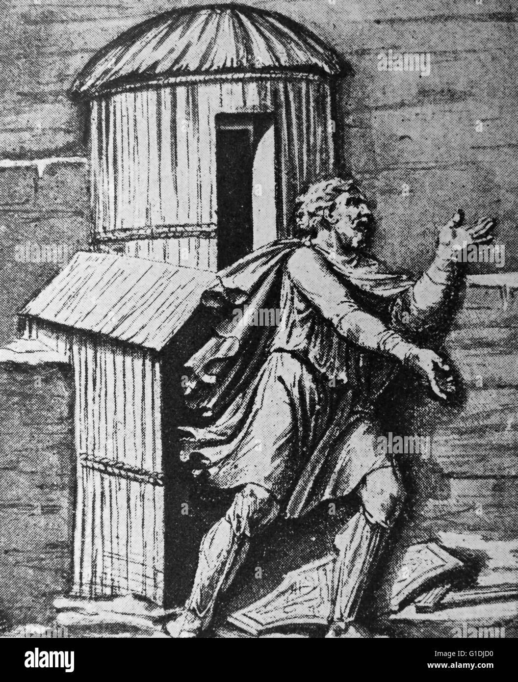 Capanna in Francia (Francia), con la Gallia sotto il dominio romano circa nel II secolo D.C. Immagini Stock