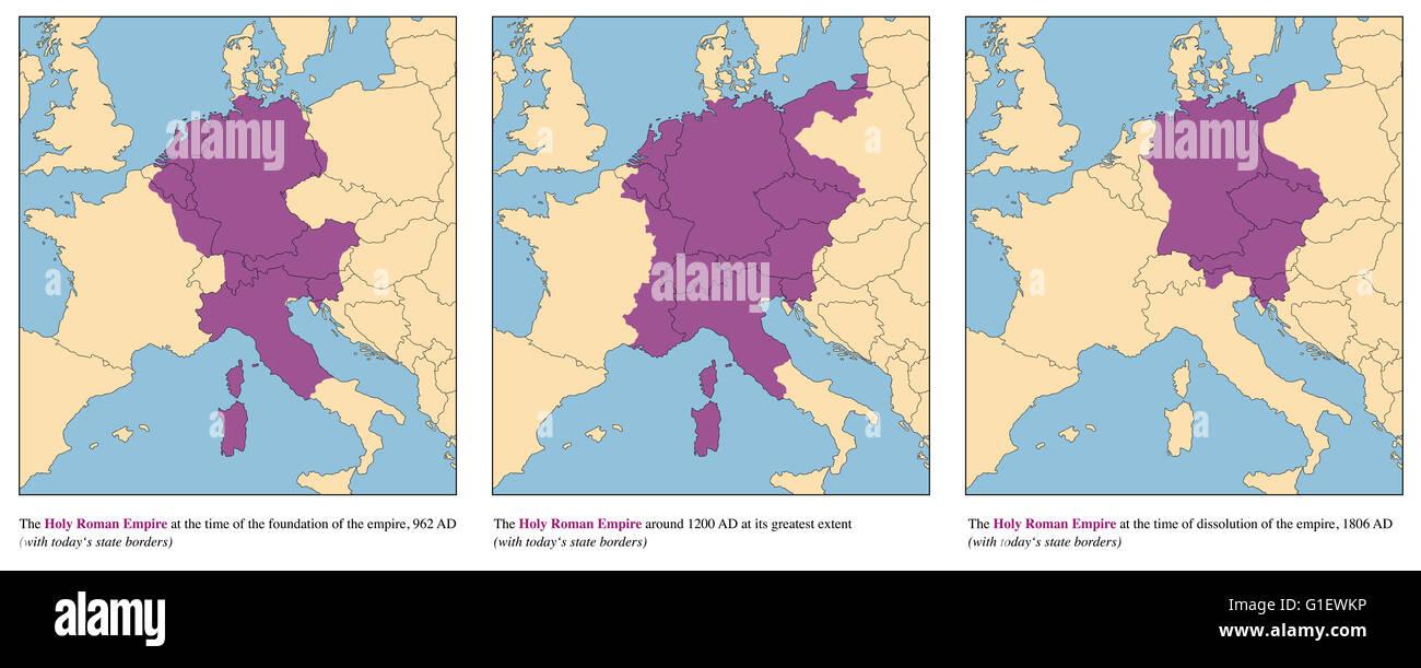 Sacro Romano Impero - ascesa e caduta dell'Europa medievale impero dal 962 D.C. a 1806 Annuncio - con l'odierna Immagini Stock