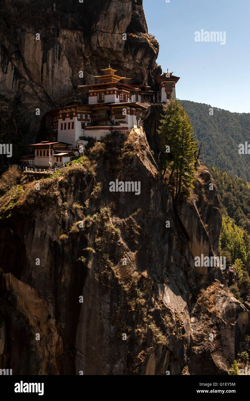Vista di Taktsang o Tiger's Nest Monastero Valle di Paro Bhutan Foto Stock