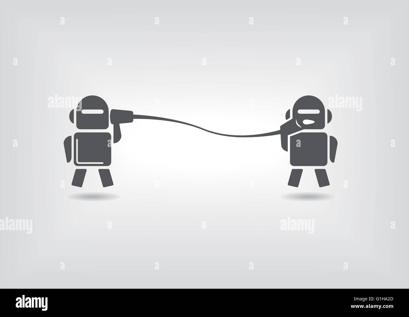 Macchina per macchina di comunicazione del concetto di robot invio di messaggi digitali Illustrazione Vettoriale