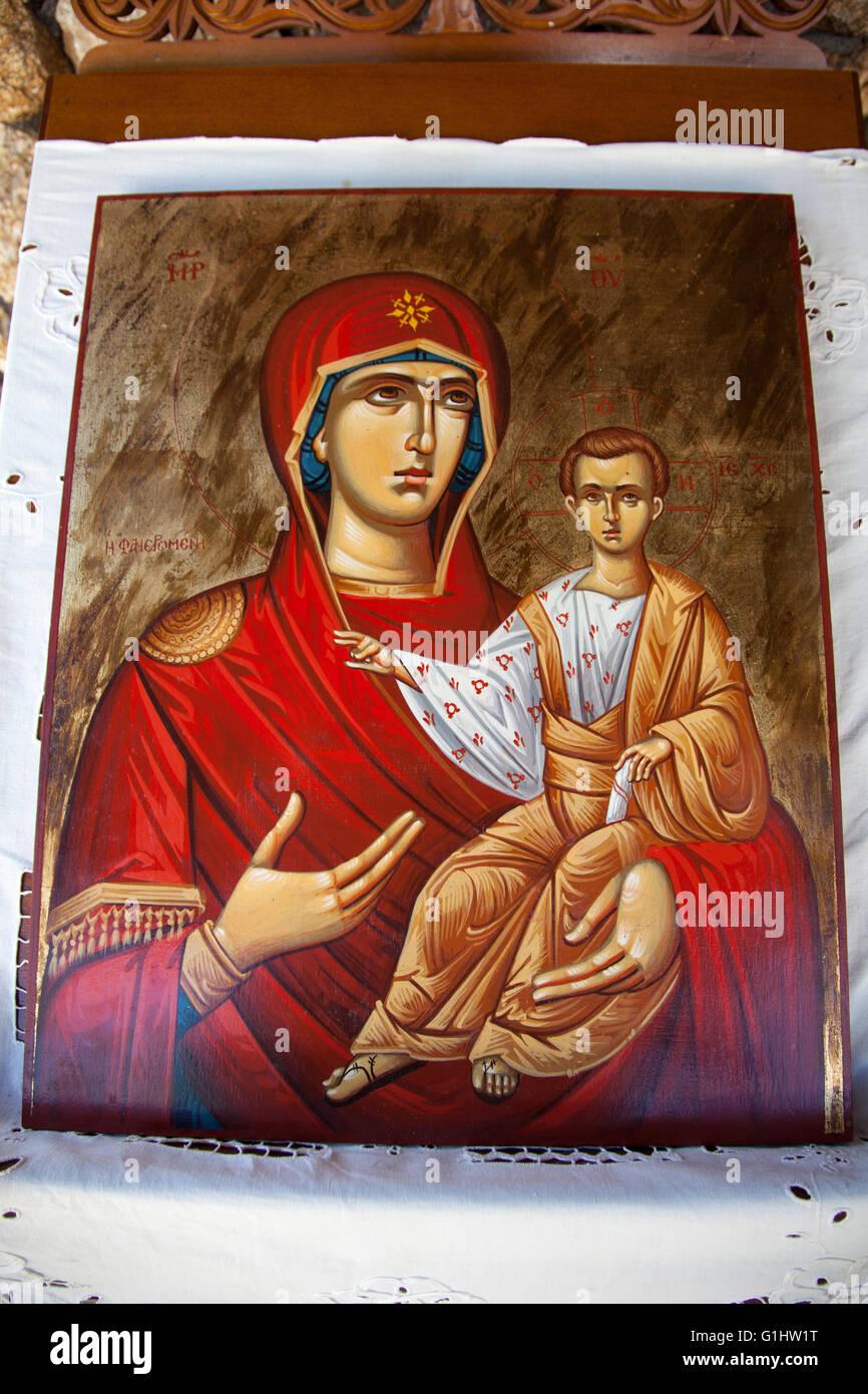 Aureola bambino Cristo Madre Maria cristianesimo chiesa telaio femmina dio Grecia greco agiografia tenere holding Immagini Stock