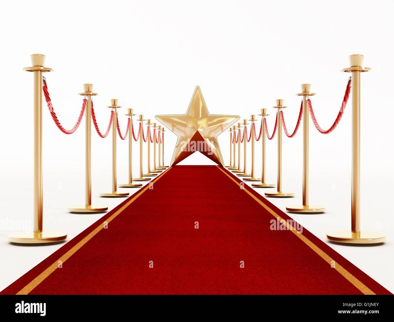 Tappeto rosso e corde di velluto con una stella d'oro forma alla fine della corsia. Immagini Stock