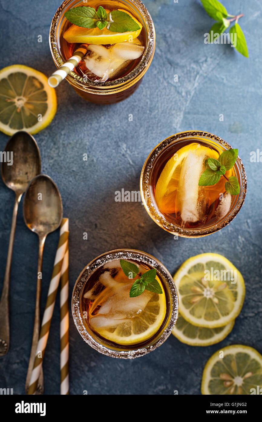 Tè freddo overhead shot Immagini Stock