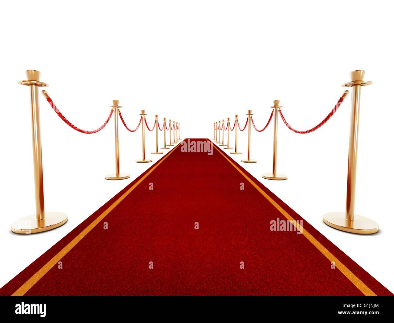 Tappeto rosso e corde di velluto isolato su sfondo bianco Immagini Stock