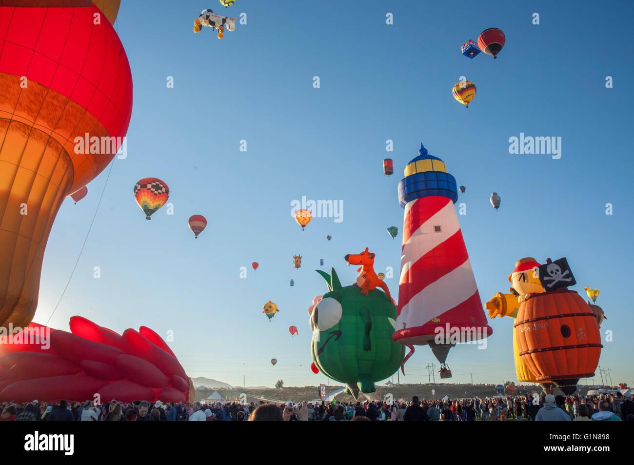 I palloni ad aria calda a Balloon Fiesta di Albuquerque nel New Mexico, U.S. Immagini Stock
