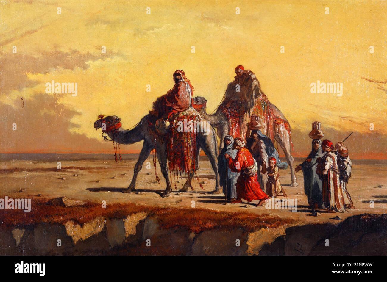 Francisco Lameyer - Scena del deserto - Museo del Romanticismo, Madrid Immagini Stock