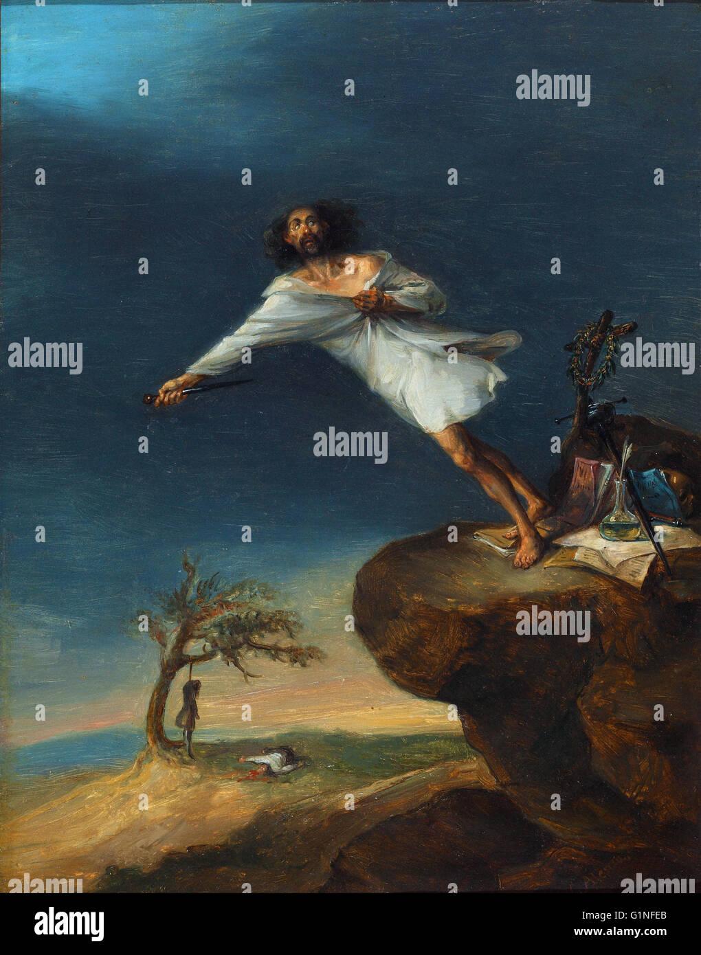 Leonardo Alenza - satira di suicidio romantico - Museo del Romanticismo, Madrid Immagini Stock