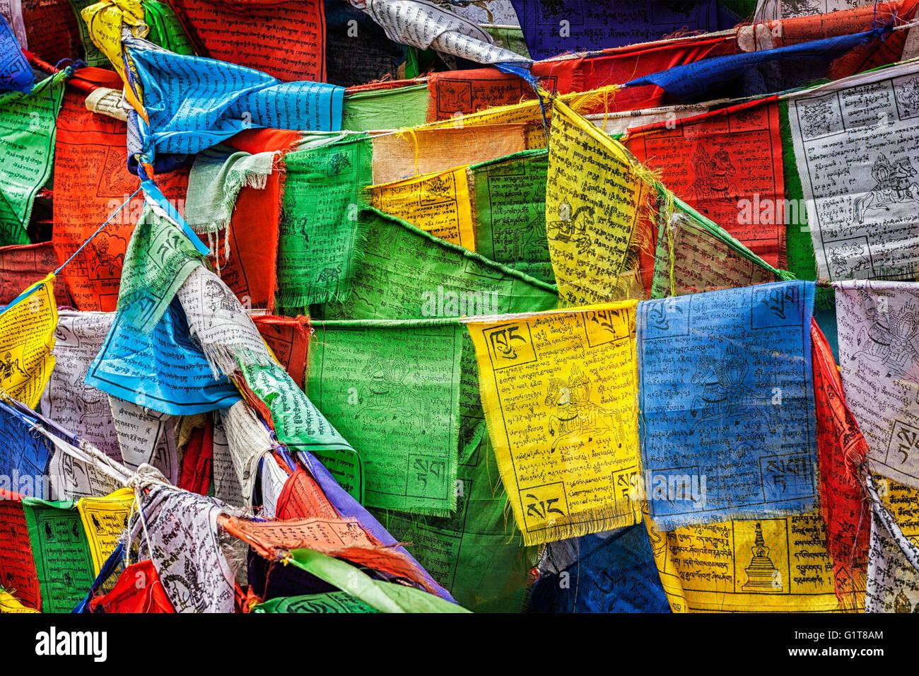 La preghiera buddista bandiere lungta con preghiere, Ladakh Immagini Stock