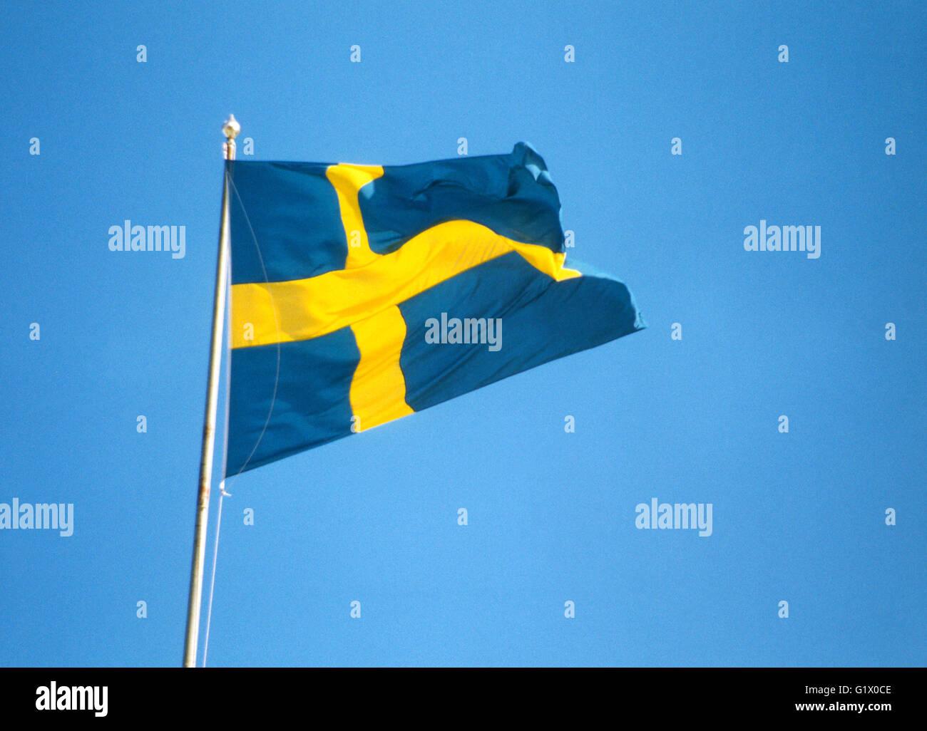 Bandiera svedese Immagini Stock