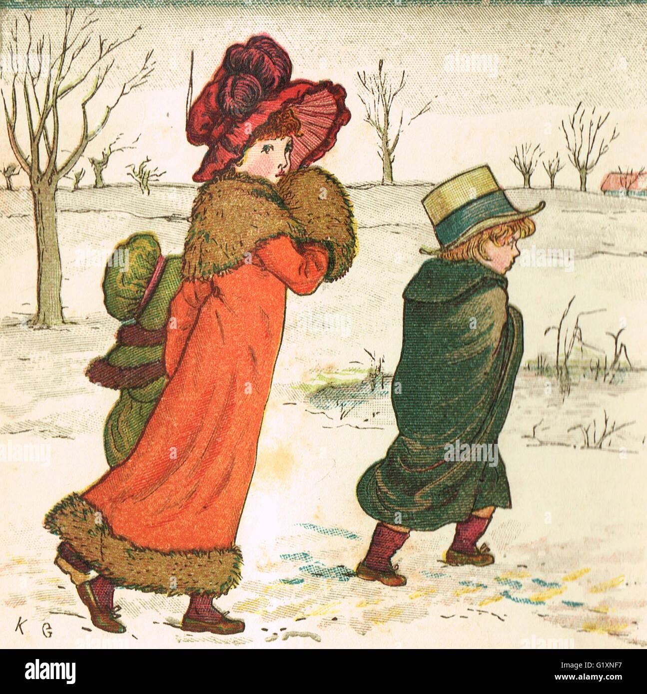 I Bambini nella neve da Kate Greenaway 1880 Immagini Stock