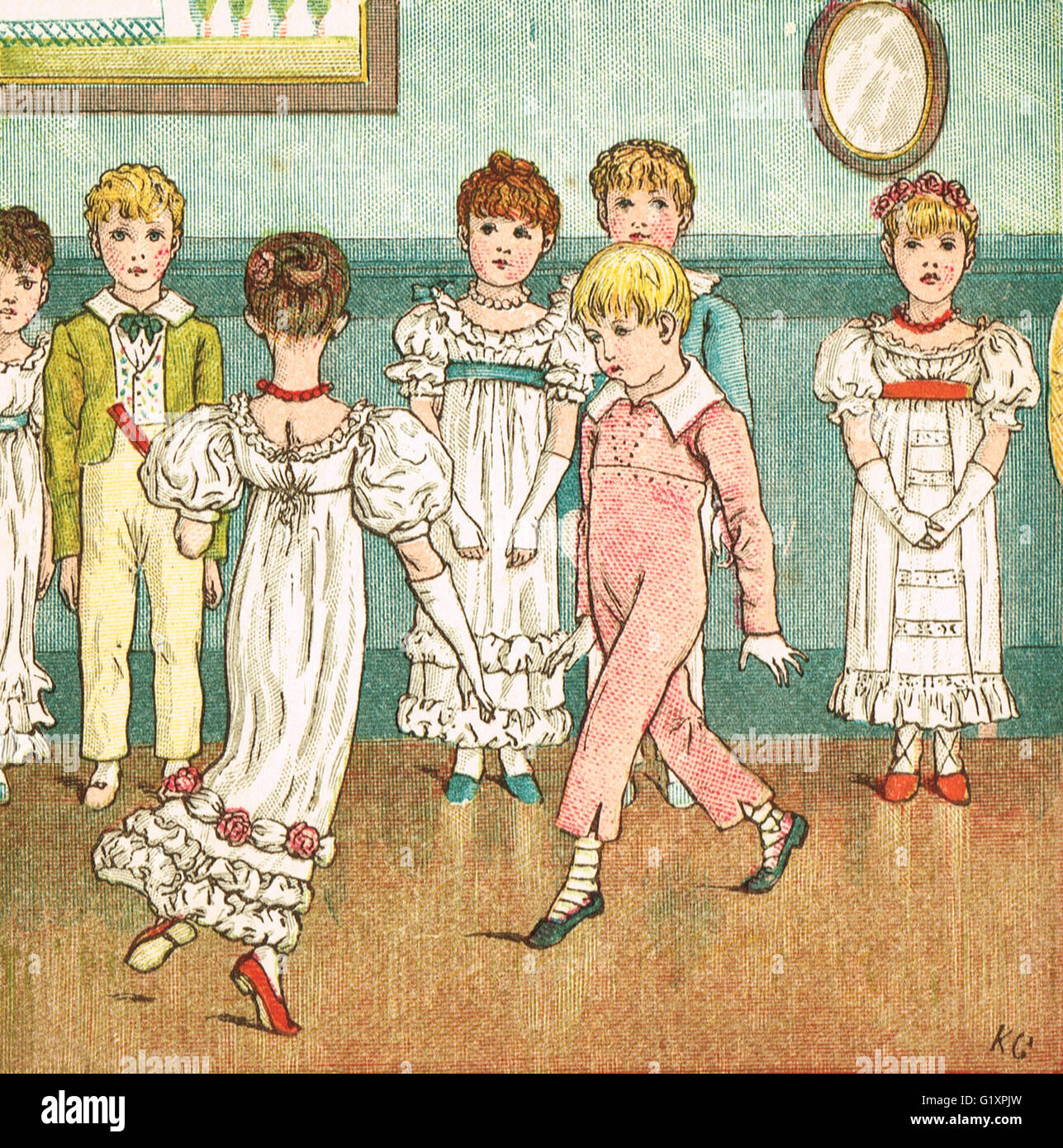 I bambini in un ballo formale di Kate Greenaway 1880 Immagini Stock