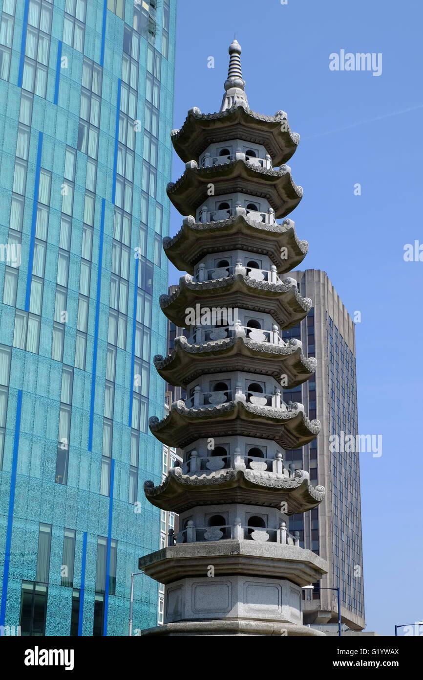La Pagoda costruita nel 2003 nel quartiere cinese di Birmingham, Regno Unito Immagini Stock