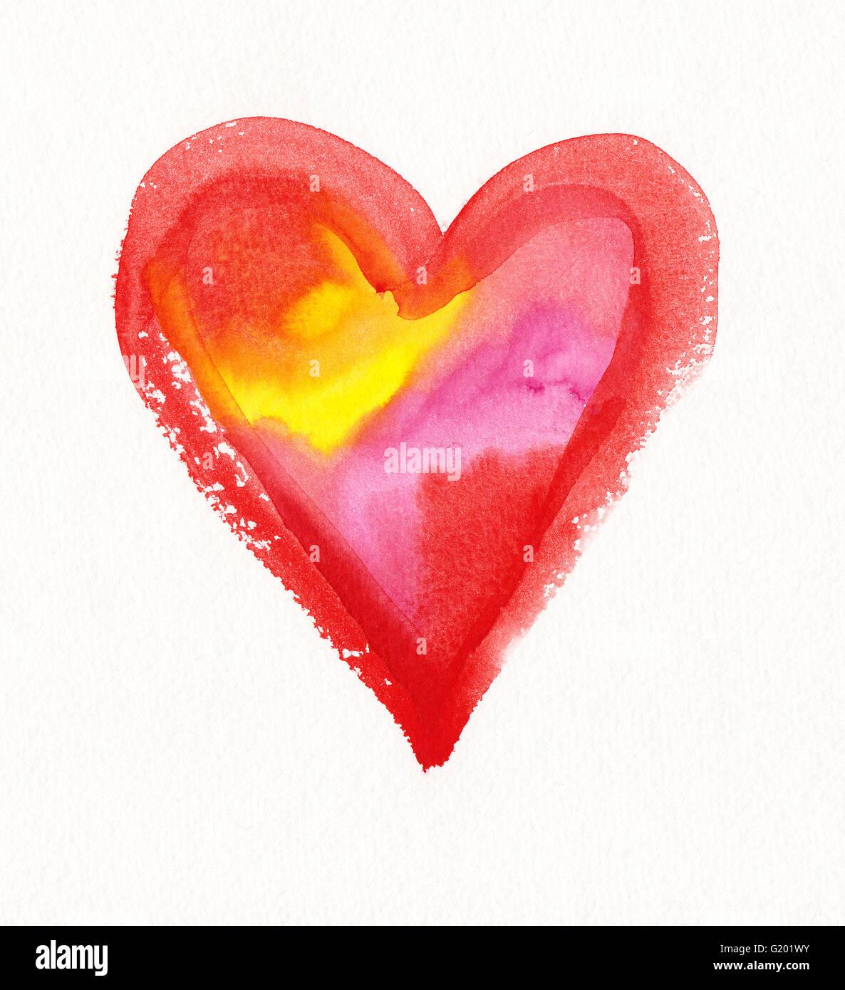 Colore cuore ricolmo di pittura ad acquerello Immagini Stock