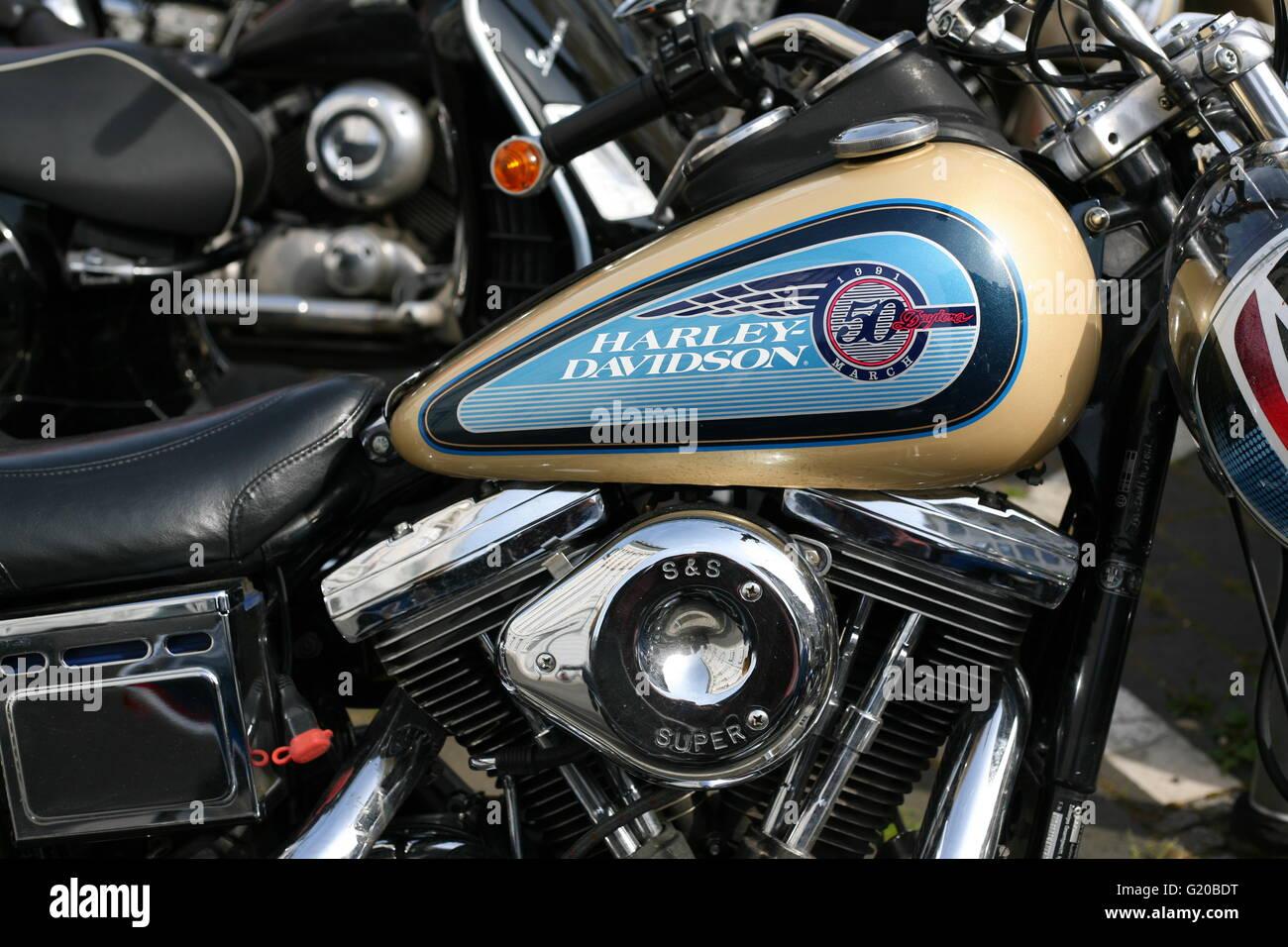 Dettaglio di un Harley Davidson Moto a Bonn, Germania Foto Stock