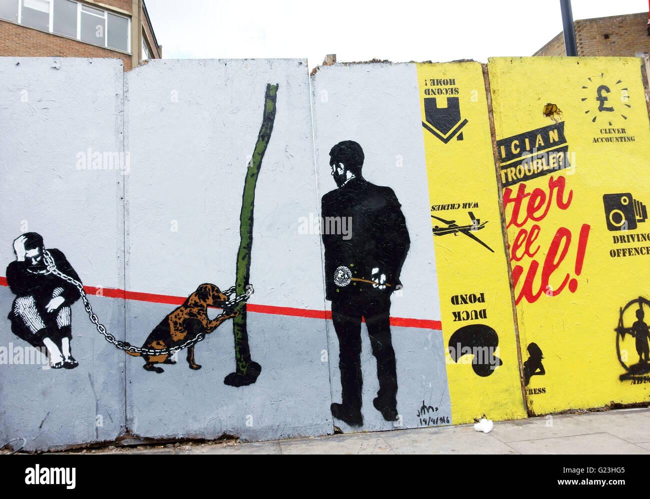 Arte di strada in Hackney Road, Hoxton, East London Foto Stock