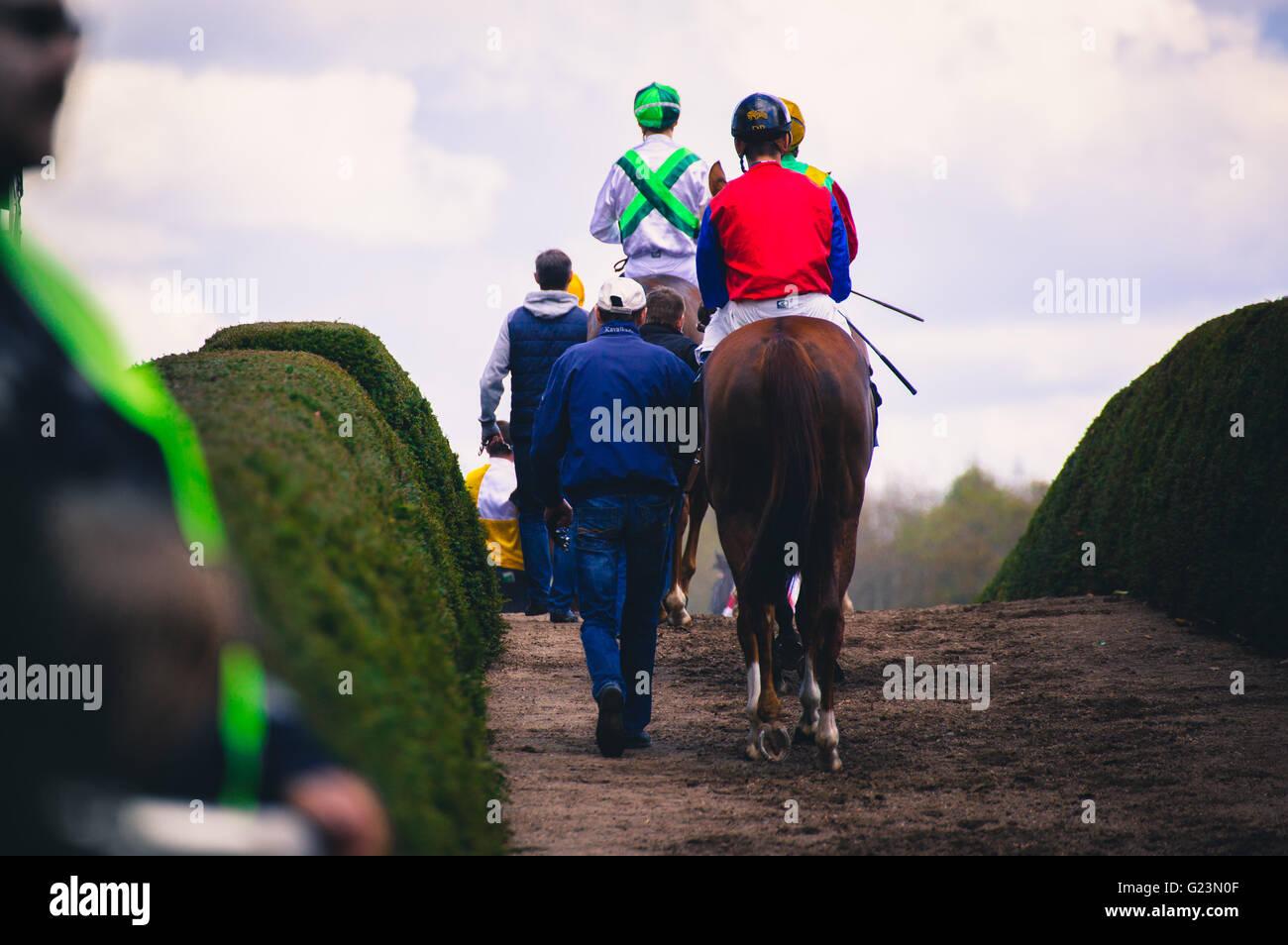 I piloti prima di corse di cavalli la concorrenza del circuito Immagini Stock