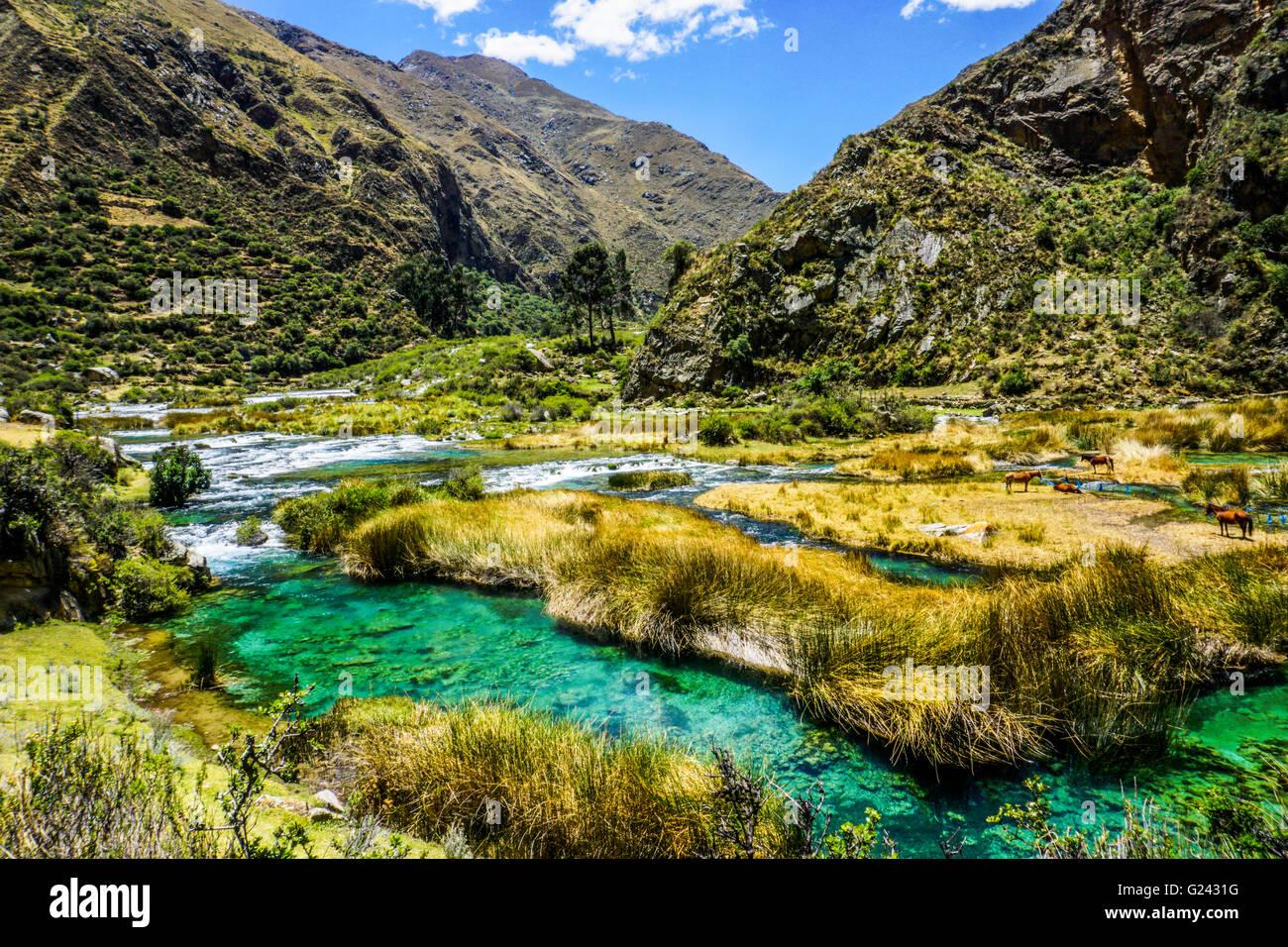 Paesaggi acquatici nelle Ande peruviane. Fotografato vicino a Huancayo, Perù Immagini Stock