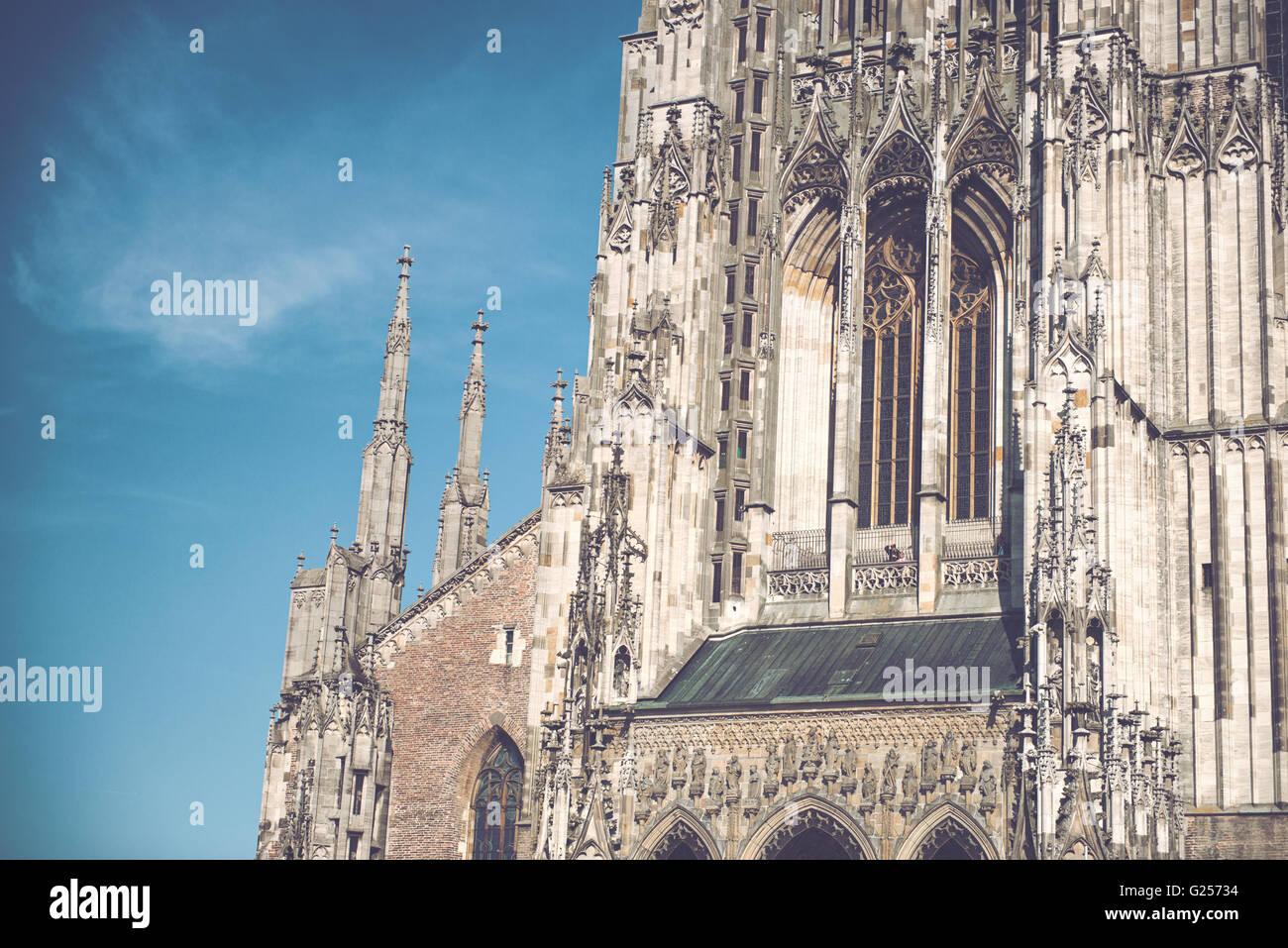 Esterni Architettonici Close Up Della Facciata Gotica Di Ulm Minster