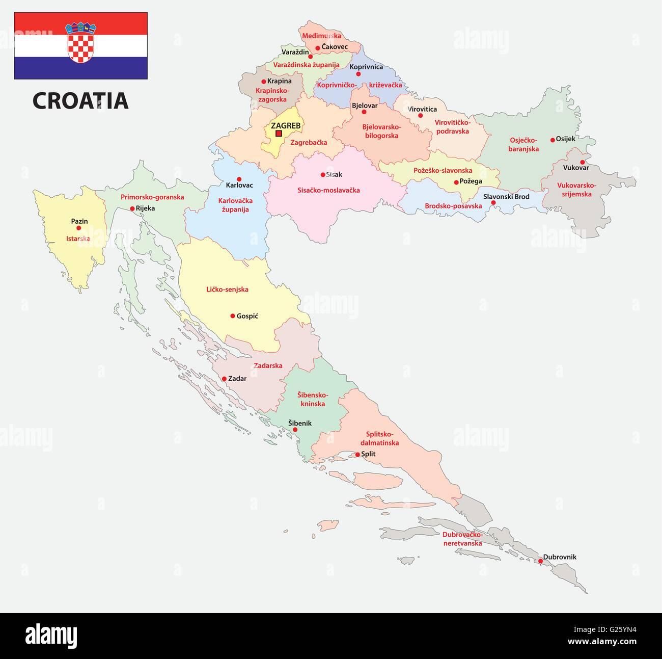 Cartina Della Slovenia E Croazia.Amministrativo E Politico Amministrativa Mappa Di Croazia Con Bandiera Immagine E Vettoriale Alamy