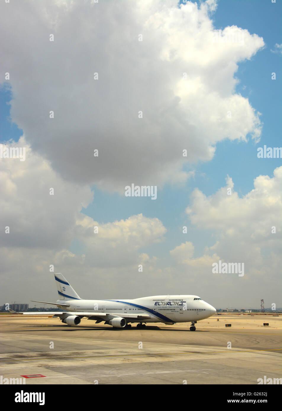 El Al , compagnie aeree israeliane, jumbo jet Immagini Stock