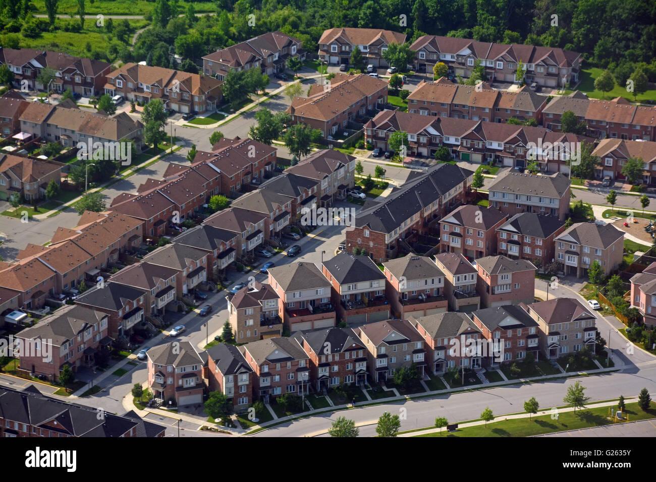 Zona residenziale sobborghi, vista aerea, Canada Immagini Stock