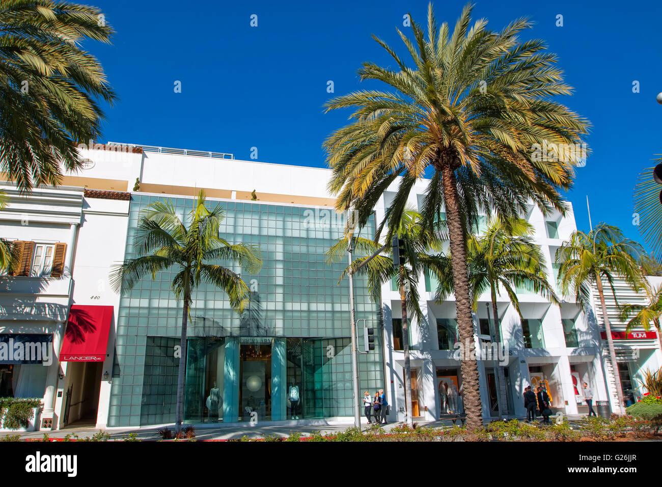 Negozio di moda di Rodeo Drive e Beverly Hills Immagini Stock