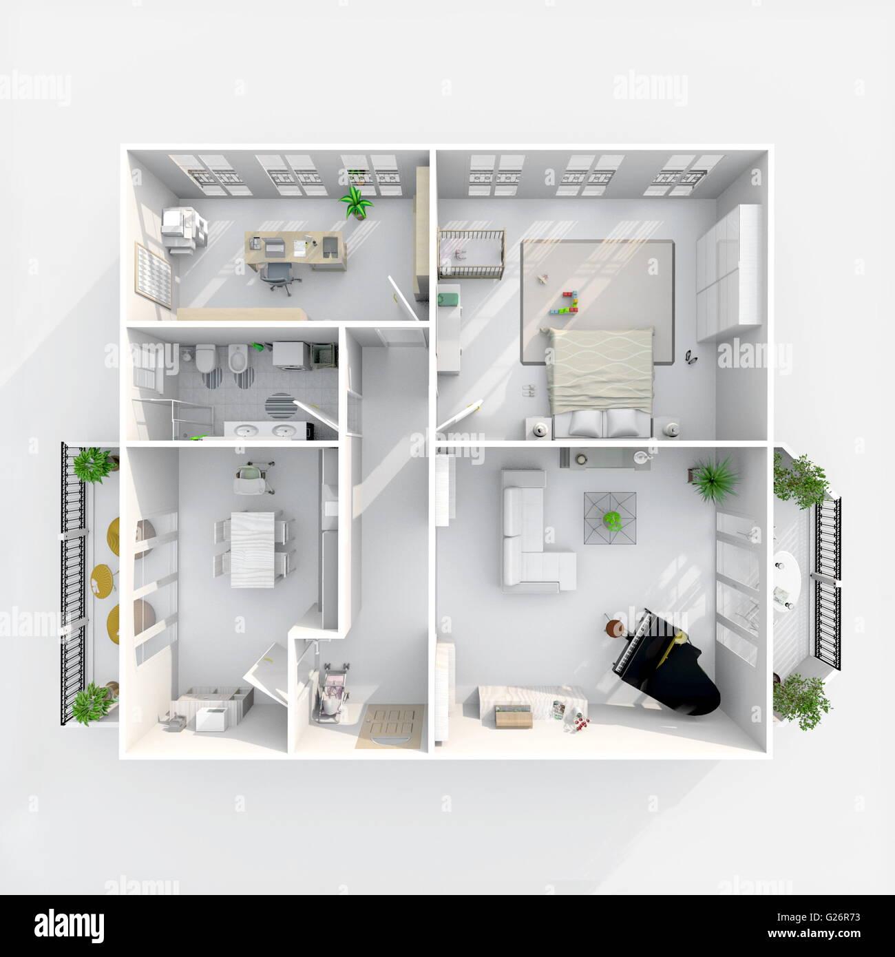Piante Da Appartamento 3d.3d Interni Rendering Vista In Pianta Della Casa Arredato