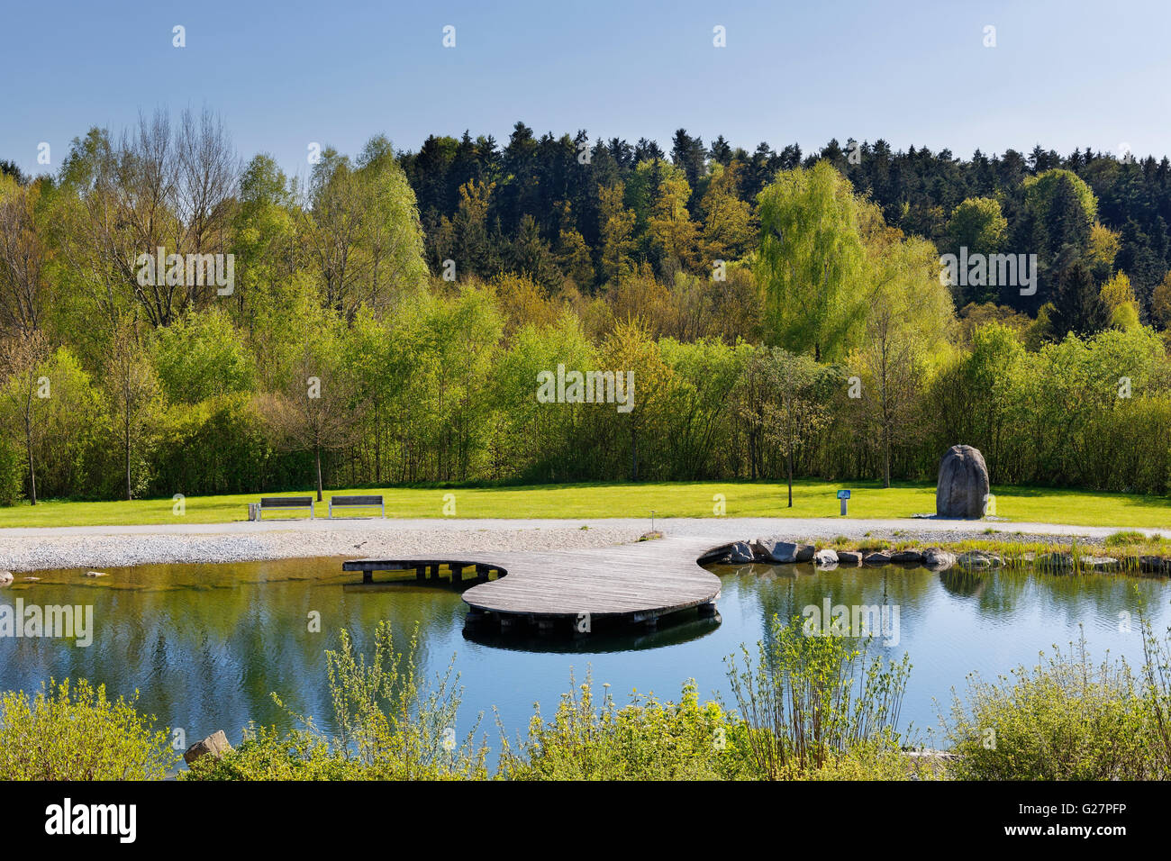 Il Feng Shui park, Lalling, Lallinger Winkel, Foresta Bavarese, Bassa Baviera, Baviera, Germania Immagini Stock