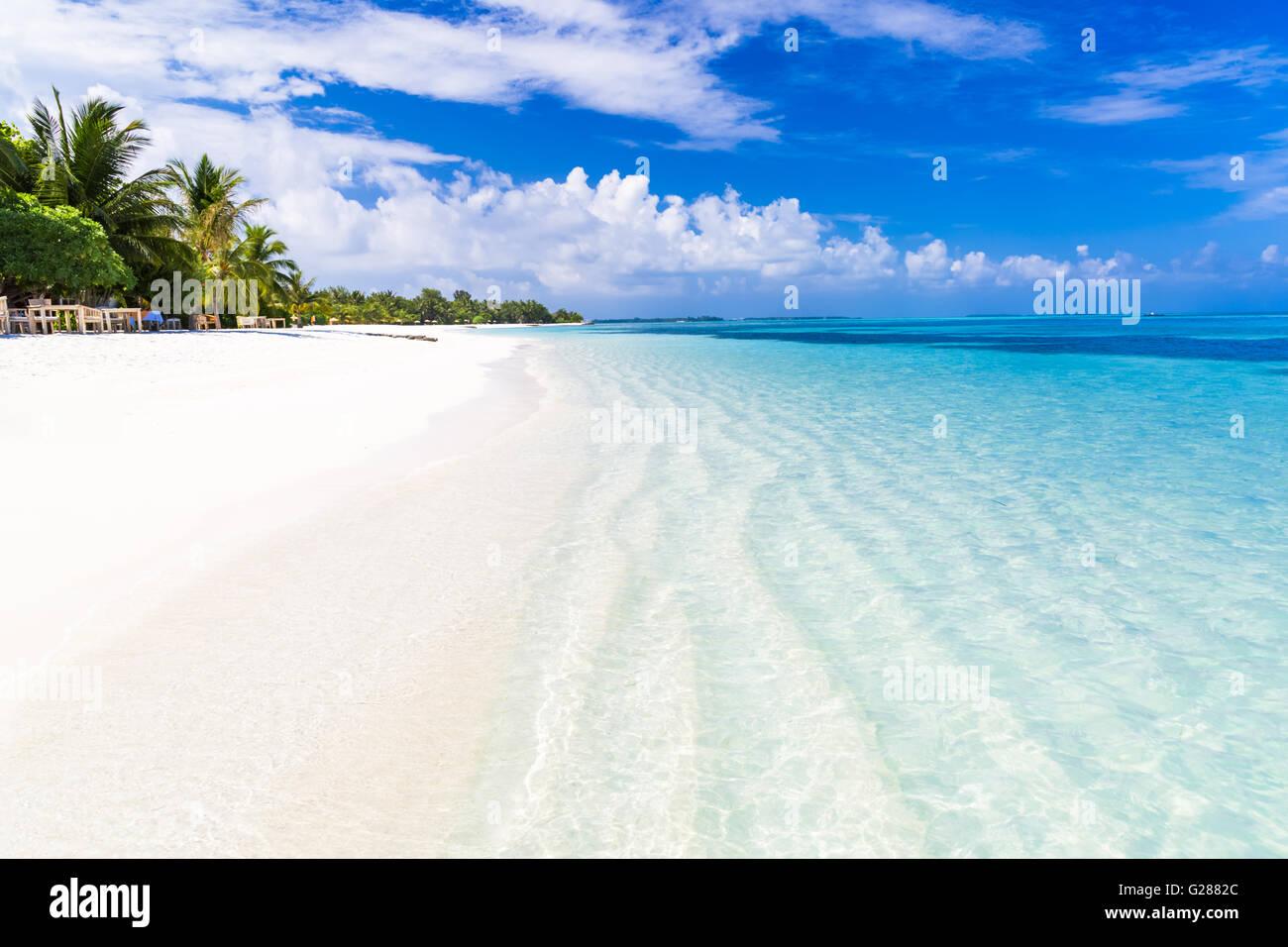 Spiaggia stupefacente scenario delle Maldive Immagini Stock