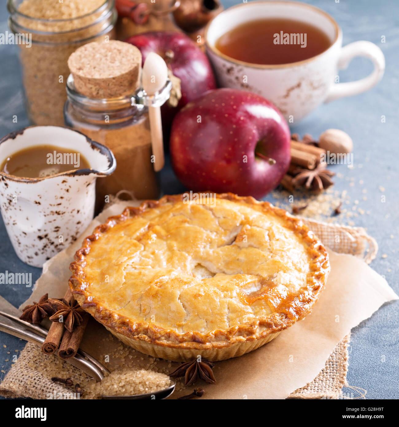 Torta di mele con caramello e sciroppo di cannella Immagini Stock