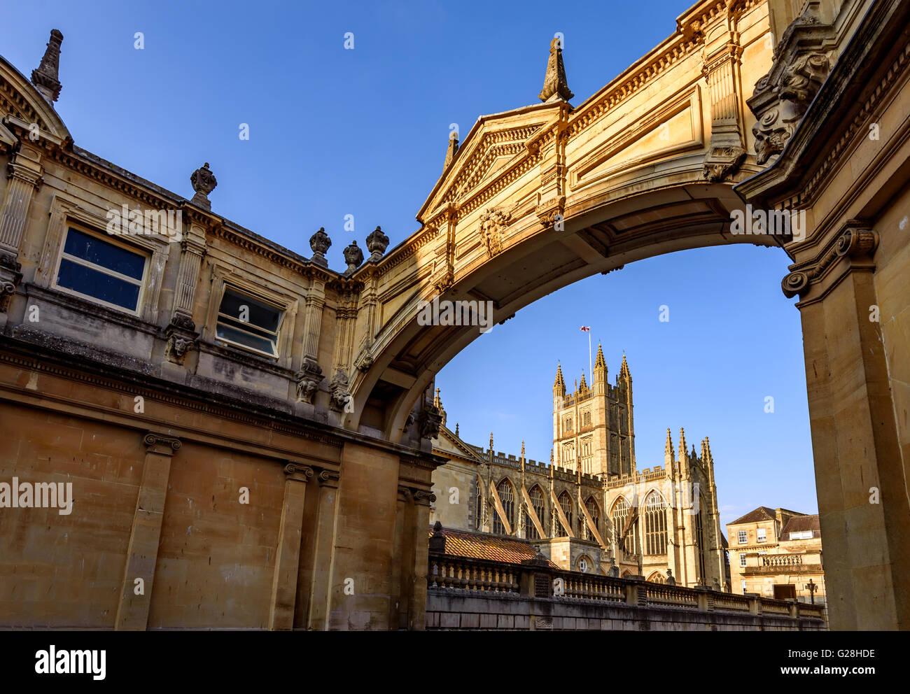 La storica cattedrale di Bath in Bath City, Regno Unito Immagini Stock