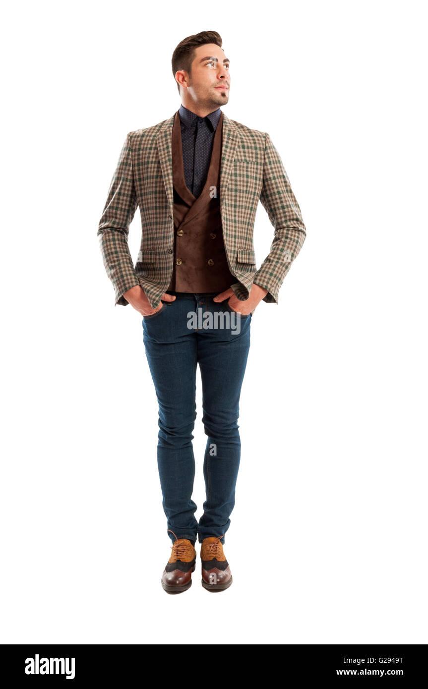 sale retailer edbcf 8dc22 Modello maschile che indossa casual e vestiti eleganti che ...